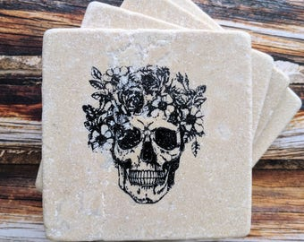 Floral Skull Stone Coasters, Flowers and Skull Coasters, Sugar Skull Floral Coasters, Day of the Dead, Sugar Skull Decor, Skull Coasters