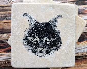 Cat Face Stone Coasters, Cat Coasters, Cat Lover Gift, Kitty Face Coasters, Cat Home Decor, Cat Desk Decor, Cat Gift, Cat Birthday Gift