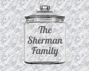Personalized Cookie Jar - Cookie Jar - Treats Jar - Candy Jar - Housewarming Gift - Hostess Gift - Family Gift - Shower Gift - Custom Jar