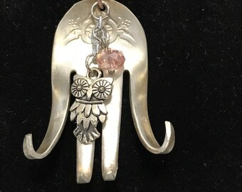 Handmade Anitque Silverware Salad Fork Necklace with an Owl Charm and pink bead