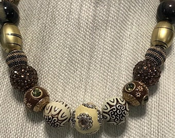 Handmade Brown and Tan and Gold Beaded Necklace