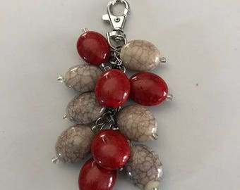 Red and creme colored beads purse bling jewelry