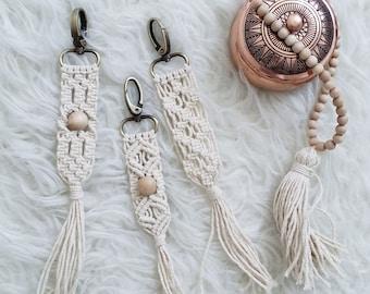 Hand-made macrame Keychain withTassle ,Macrame accessories, purse decoration, bag accessories.