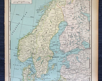 Large map of finland etsy norway sweden and finland or japan manchukuo chosen large map 1941 new international atlas of the world vintage gumiabroncs Gallery