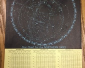 Star Chart - Northern Skies - 1959 Space Age World Atlas - Antique Rand McNally - Large
