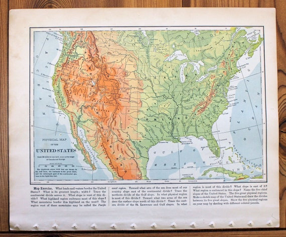 Physical Map of The United States - 1901 Natural Advanced Geography on outline map of il, topographic map of il, blank map of il, color map of il,