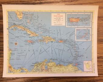 Large jamaica map etsy west indies large map 1955 hammonds new supreme world atlas vintage gumiabroncs Choice Image