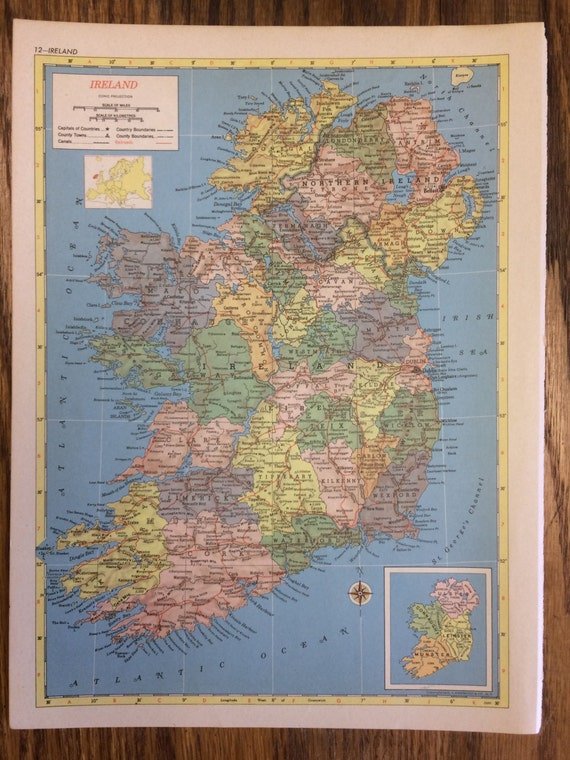 Ireland or scotland large map 1955 hammonds new supreme etsy image 0 gumiabroncs Image collections