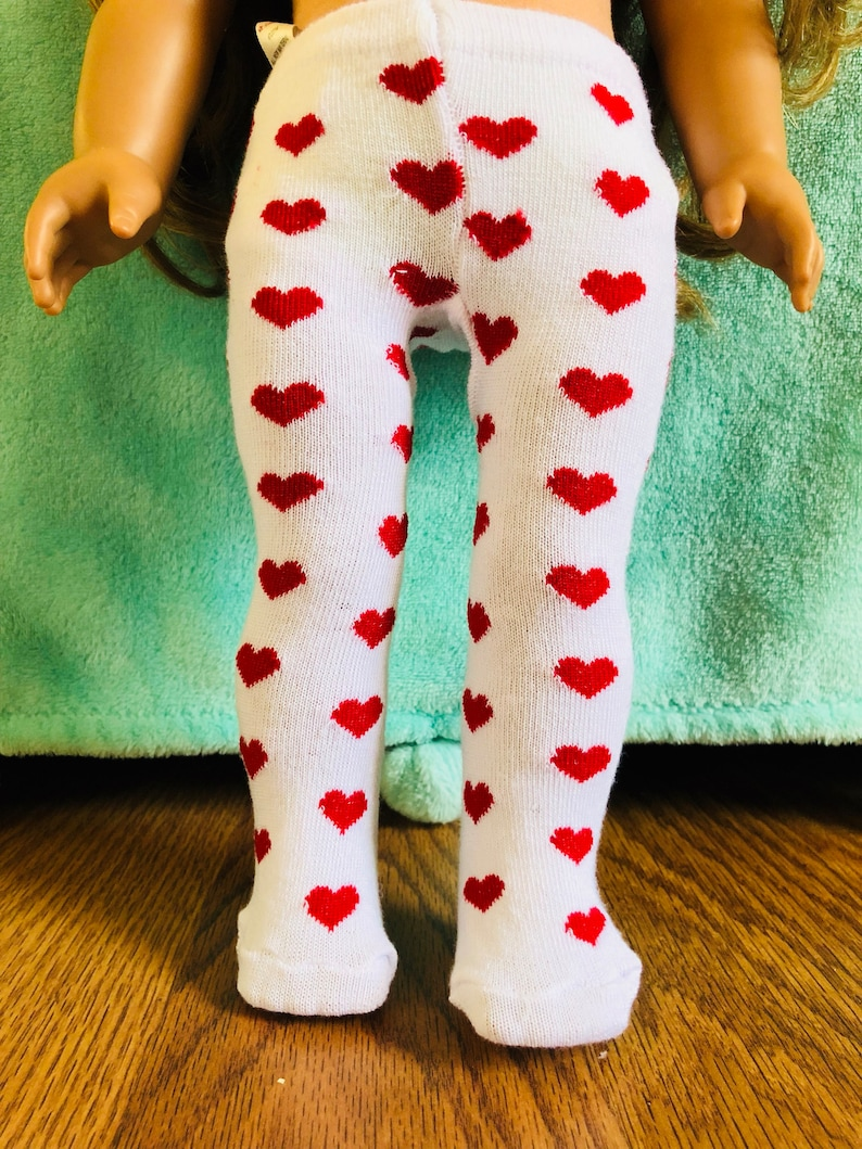 Red Heart Tights Fits 18 inch American Girl Dolls