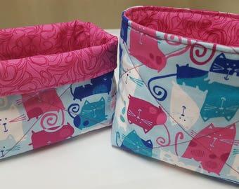 Small Cloth Basket, Cute Cat Basket, Kitty Basket, Pink, White and Blue Basket, Cotton Basket, Organizing/Desk Basket, Quilted Basket