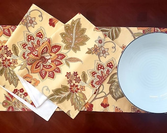 """Pretty Floral Table Runner, Home Dec Table Runner, Red, Yellow and Green Table Runner, 42"""" Table Runner, Lined/Backed Table Runner"""