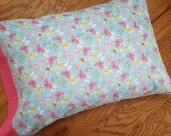 Butterfly Pillowcase, Pretty Pink and Blue Pillowcase, Generous Size - Fits Standard and Queen Pillows