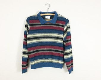 80's Striped Collared Sweater