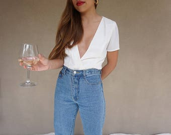 vintage silk and satin ivory blouse