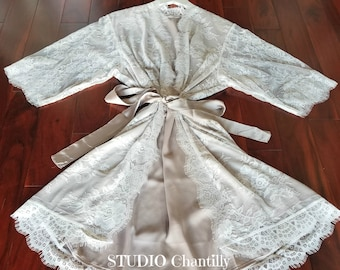 Getting Ready Robe, Lined Lace Bridal Robe, Honeymoon Robe, Wedding Night Robe, Bridal Shower Gift, Boudoir Lingerie, Lingerie Robe, Sexy