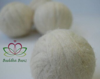 100% wool dryer balls, undyed, handmade by Buddha Bunz