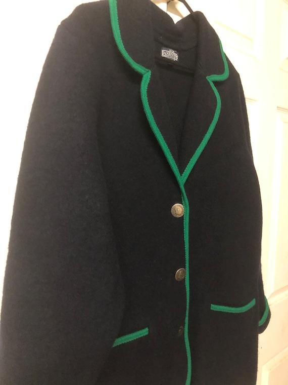 boiled wool jacket cardigan navy blue Austrian woo
