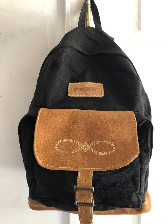 vintage backpack Jansport bag canvas nylon leather