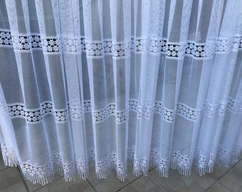 White sheer with lace guipure 145 cm wide finished curtains