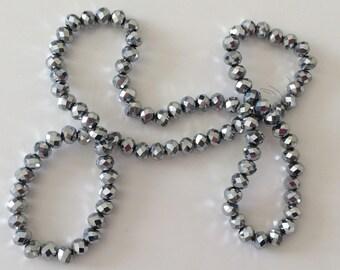 Crystal bead has facet 6 * 4 mm silver grey