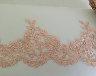 Old pink lace for wedding dress 13 cm wide
