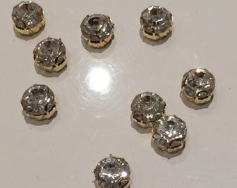 Set of 10 rhinestone 3 d Crystal studded gold 8 mm