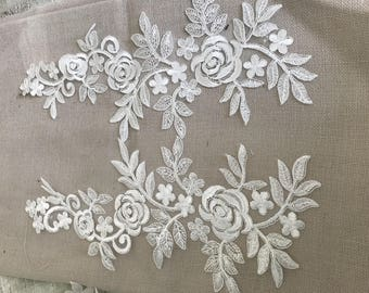 Apply to sew guipure lace off white 35 over 18 cm
