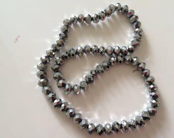 8 mm Crystal bead has facet 8 mm gray metallic