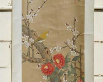 Original Vintage Chinese Watercolor-on-Silk Painting Scroll