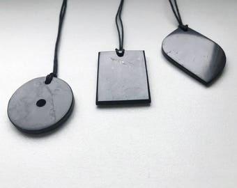 Shungite Pendants Set of 3 pcs Petal Rectangle Talisman Magic Aura Stone Protection Healing Karelia Original Polished Jewelry Circle