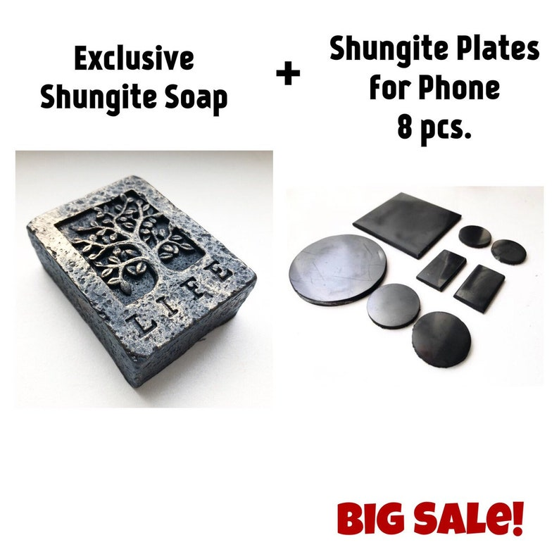 Shungite Soap (1 pcs ) + Shungite plates ( 8 pcs ) Detox bath Homemade Soap  Handmade Protection Healing Water Detoxification Karelia