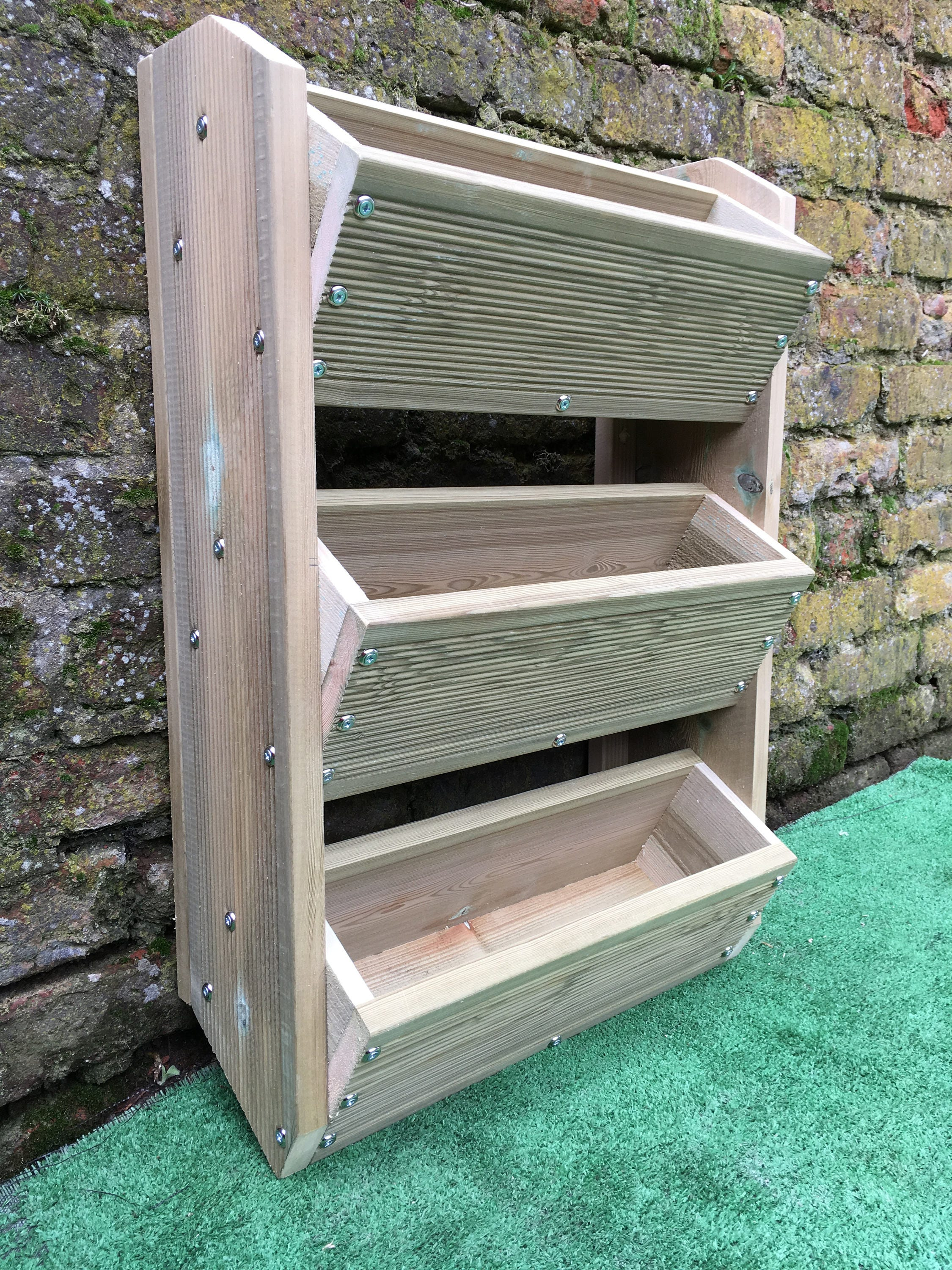 3 tier wall mounted planter for herbs flowers strawberries. Black Bedroom Furniture Sets. Home Design Ideas