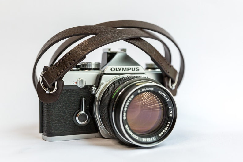 Leather camera strap. Brown leather camera strap. Custom image 0