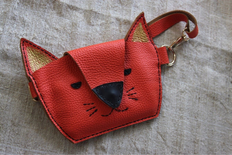 Kids leather funny pack Ginger cat Cool kids animal bag. Kitty bag