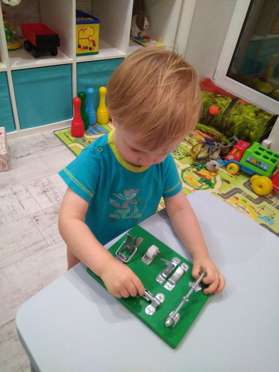 Wooden Toy BUSY BOARD Children 1st Birthday Gift Sensory Toy