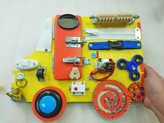 Wooden Toy BUSY BOARD CAR Children 1st Birthday Gift Sensory