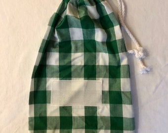 Free postage - Personalised stamped fabric drawstring bag - green and white gingham