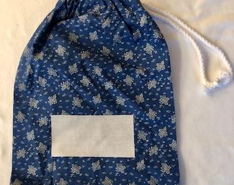 Free postage - Personalised stamped fabric drawstring bag - blue floral