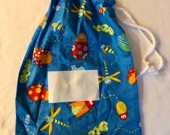Free postage - Personalised stamped fabric drawstring bag - multicoloured bugs
