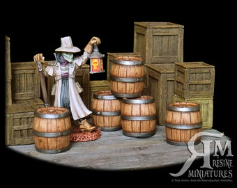 5 barrels size M (set in resin, ech.30mm)