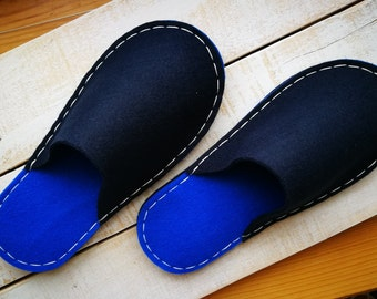 Blue felt slippers by BUCHA Hand sewing slippers Felted men slippers Gift for men Slippers for men blue felt fabric slippers House shoes