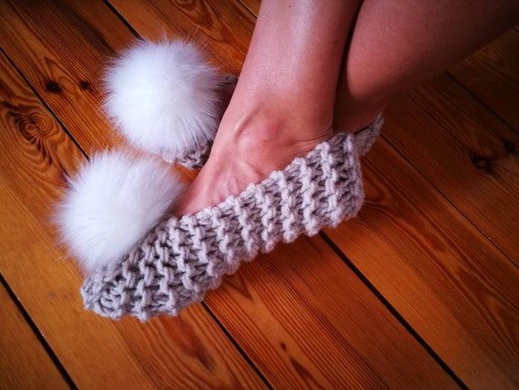 ca6e8352d4a8d Knitted Women Slippers with faux fur pom pom Womens Slippers Chunky Wool  Slippers Ballet Flats Bridesmaid slippers Wedding fluffly slippers