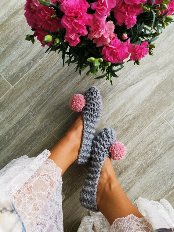 3adaf263ff077 Women Slippers with yarn pom pom Knitted slippers Home shoes Bridesmaid  gift Cute Cozy Ballet Flats Furry slippers Crochet slippers Non slip