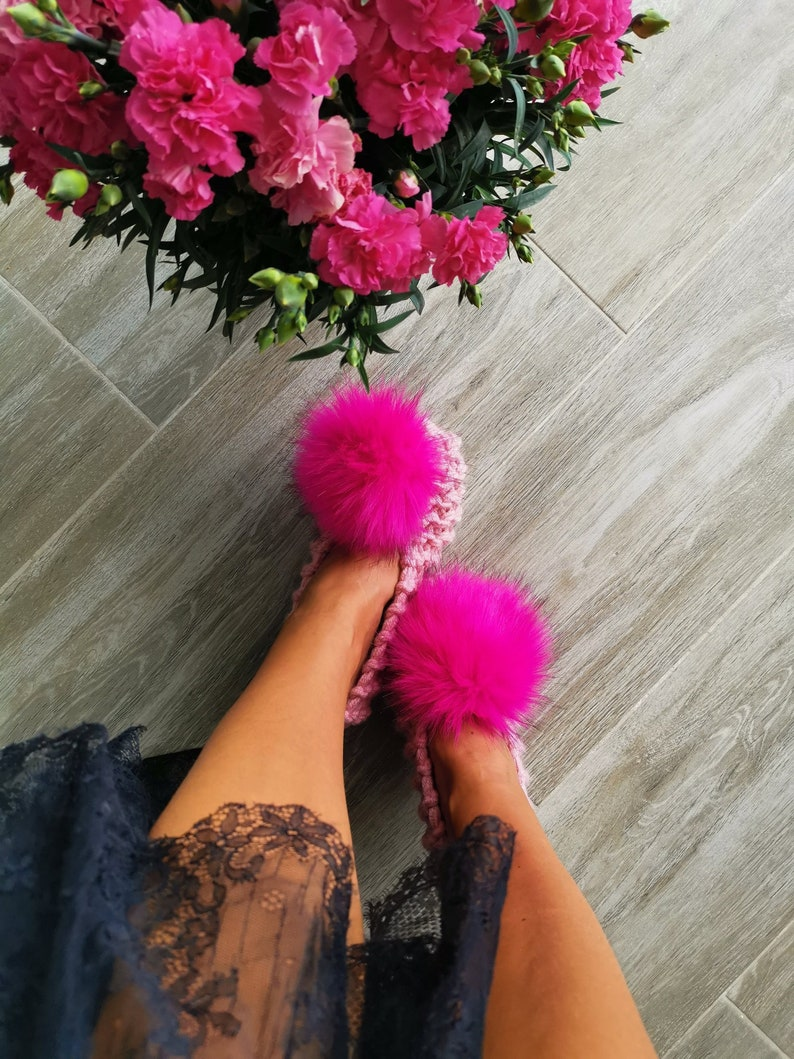 88477d8626e35 Pink Women Slippers with FAUX fur pom pom Bridesmaid slippers Wedding  slippers Wool Slippers Knitted Ballet Flats Knitted slippers Crochet