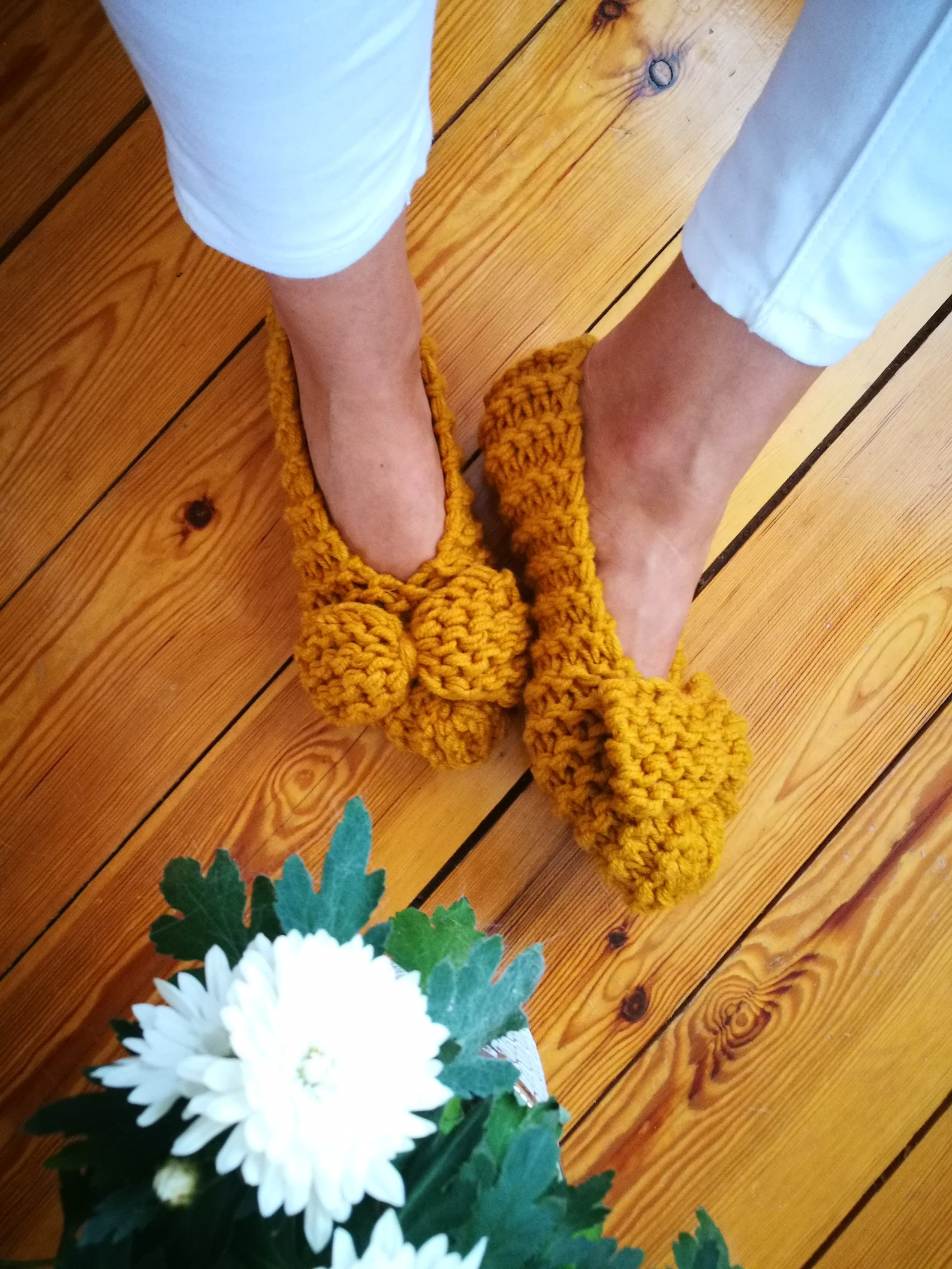 knitted women slippers guest slippers womens slippers extra chunky wool slippers ballet flats home shoes bow slippers christmas