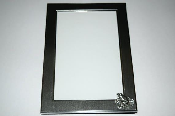 Frog Picture Frame. Pewter frog emblem on a 4 x 6 OR 5 x 7   Etsy
