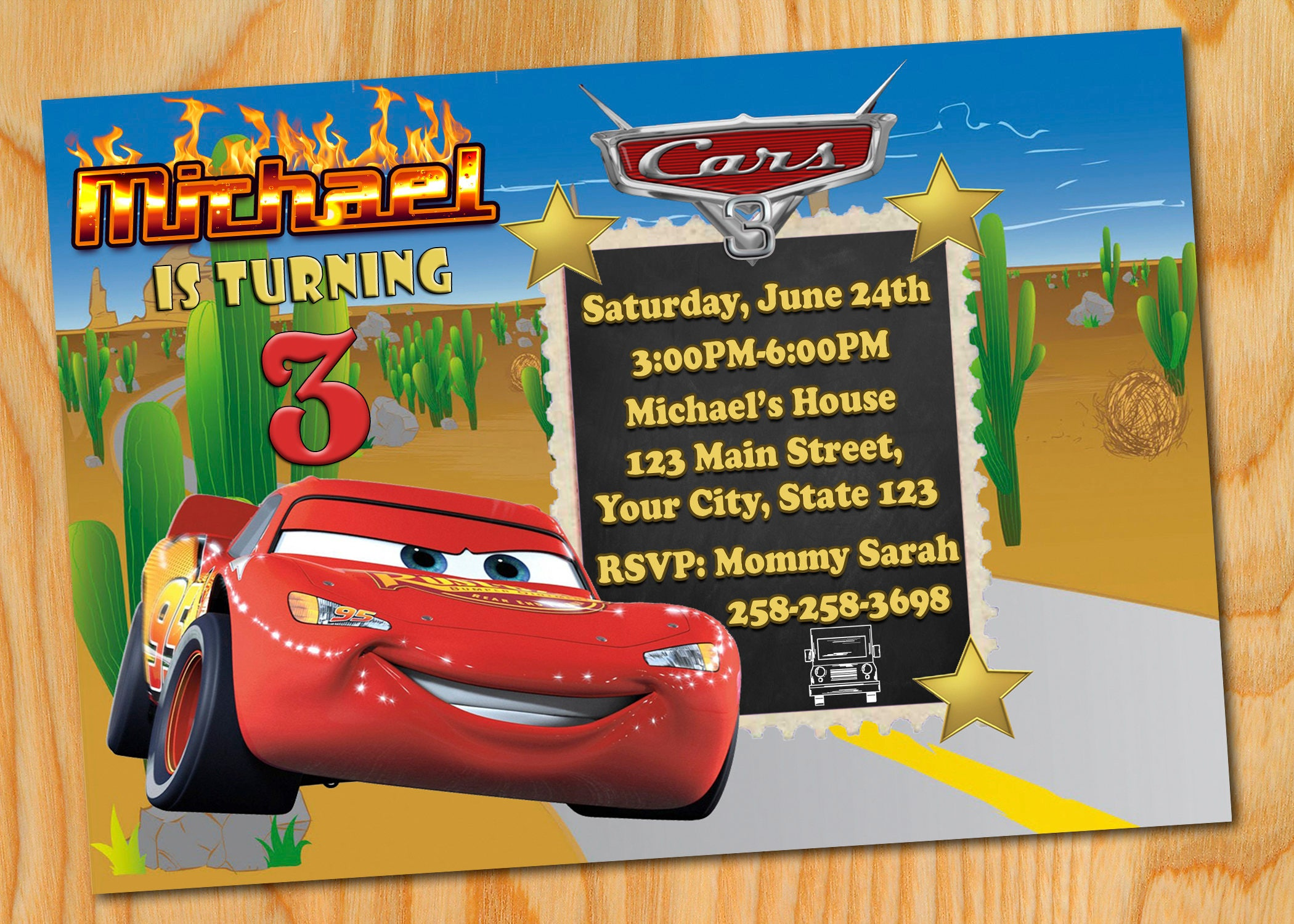 Disney Cars 2 Invitation Birthday 3