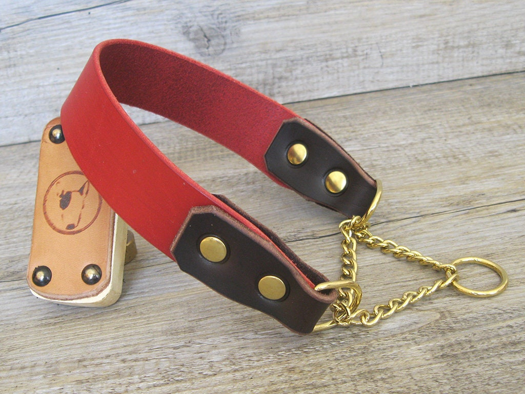 Slip-On Collar Half-Choke Dog Collar Stainless Steel Chain Made in Italy YupCollars Martingale Dog Collar in Prime Red Leather