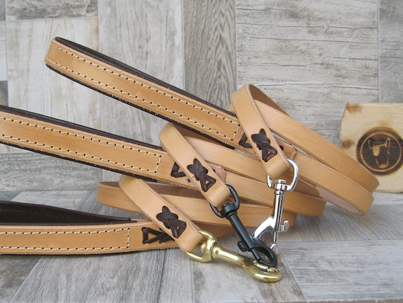 Tan Leather Dog Leash, Custom Lenght and Width, Brass, Nickel or Black Hardware, Strong Dog Leash, Walking Dog Lead, Handmade Dog Leash