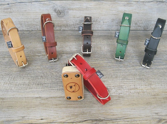 Red Dog Collar, Leather Dog Collar, FREE ID Tag, Handmade Dog collar, Colorful Dog Collar, Custom Dog Collar, Durable Dog Collar